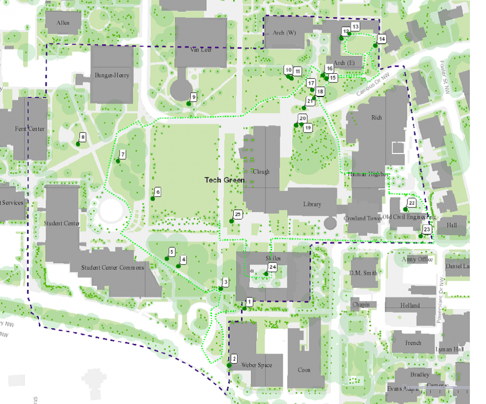 Fig 2 - The Campus Arboretum Weekly Data Collection is Based Partially Around the Numbered Trees Above.
