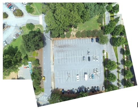Fig 3- Aerial photographs of the future site of the Living Building allow us to measure changes in tree canopy cover and overall green space.